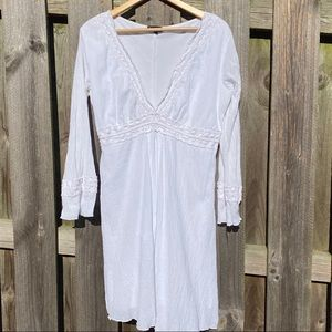 White bohemian Lace crinkle Hippy Gypsy dr…